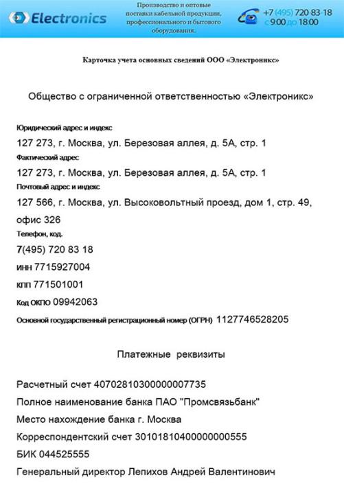 Учредительные документы Electronics 1