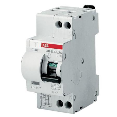 ABB DS941 Дифференциальный автоматический выключатель 1P+N 10A 30mA (AC) хар. C