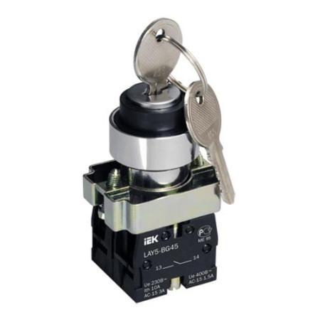 Переключатель LAY5-BG45 на 2 положения с ключом без фиксации ИЭК