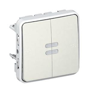 Выключатель-переключатель Plexo с индикацией IP55 (белый)