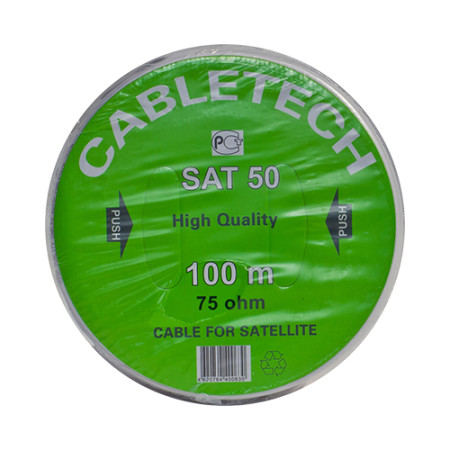 Кабель SAT 50 M, Cu/Al/Cu, (64%), 75 Ом, 100м., белый CABLETECH