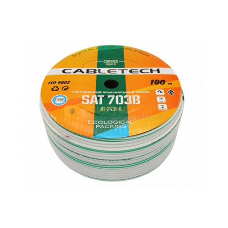 Кабель SAT 703 B, Cu/Al/Cu, (64%), 75 Ом, 100м., белый CABLETECH